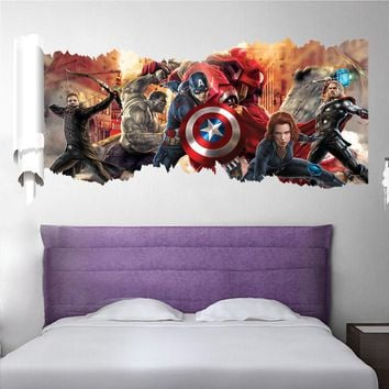 The Avengers Super Heroes Decorative Wall Stickers For Home Decorations Kids Nursery Room Decor PVC Living Room Mural Art Poster