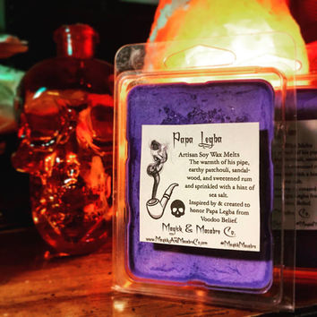Papa Legba Artisan Soy Wax Melts: Warm Pipe, Sweetened Rum, Patchouli, & Sandalwood. Witchcraft, Gothic, Goth, New Age, Vegan, Cruelty-Free
