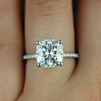 Shop Moissanite Cushion Cut Ring on Wanelo