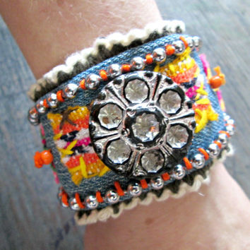 Gypsy Junk Denim bracelet - Bohemian Jewelry - Wide Cuff Bracelet - Upcycled, Recycled, Repurposed - Denim Bracelet