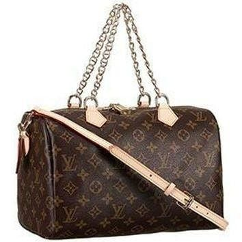 Tagre™ ONETOW Louis Vuitton Monogram Speedy 30 Bag With Chain Shoulder Strap