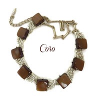 Vintage CORO Chocolate Moonglow Necklace, Gold Tone Mid-Century Choker