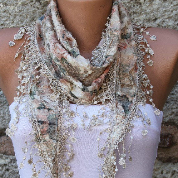Multicolor Scarf  - Cotton  Scarf -  Cowl with Lace Edge - fatwoman