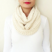 Knitting Lightweight Soft Beige, Ivory Scarf, Infinity Scarf, Circle Scarf, Handknit, Women Accessories