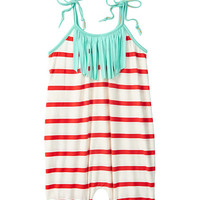 Orange & Mint Stripe Bubble Romper - Infant & Kids
