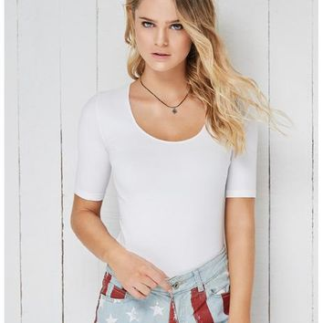 Basic T-Shirt Half Sleeves Wide Scoop Neck
