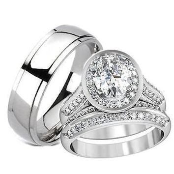 His Hers Halo Cz Matching Wedding Ring Set Stainless Steel & Titanium
