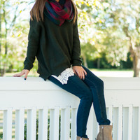 Layered Lace Sweater, Dark Green