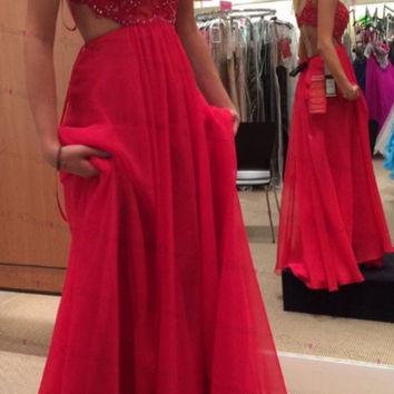 A-Line Straps Red Prom Dresses