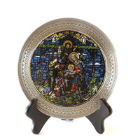 NATIVITY STAINED GLASS Plate, Vintage Nativity scene plate, stained glass plate, Nativity of Love plate,Rhodes Studios plate,limited edition