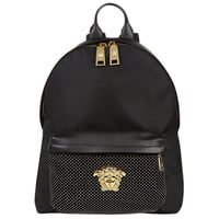 Versace Leather and Nylon Studded Backpack
