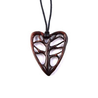 Wooden Heart Pendant Necklace, WoodenTree of Life Necklace Pendant, Wood Jewelry, Tree of Life Necklace, Hand Carved Pendant, Wood Pendant