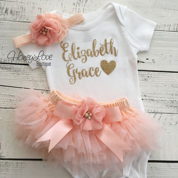 PERSONALIZED SET gold glitter shirt bodysuit, peach ruffle tutu skirt bloomers, flower headband, newborn baby girl take home hospital outfit