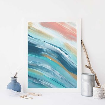 Modern Beach House Painting Blue, Turquoise and Salmon Wall Art Print