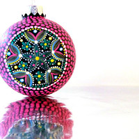 Pink Christmas: Hot Pink Hand painted Hollow Glass Christmas Tree Ornament
