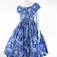 50's Jerry Gilden Blue Floral Garden Party Dress