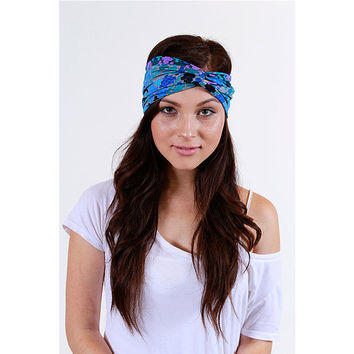 Geo Print Knit Turban Headbands in Blue and Purple by luvluxx