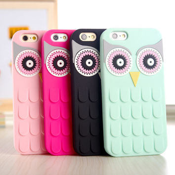 3D Cute Cartoon OWL Soft Silicon Rubber Phone Case Cover For iPhone 4 4s 5 5s 5c 6 4.7 6 plus 5.5