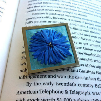Blue Embroidered Flower Beaded Brooch, Silk Ribbon Embroidery - BeanTown Embroidery