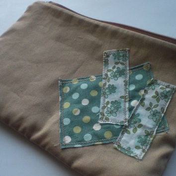 Scrappy Patched Zipper Pouch in Beige and Green by PhreshThreadz