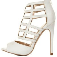 White Qupid Caged Peep Toe Heels by Charlotte Russe