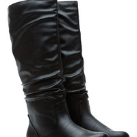 Black Faux Leather Go-To Slouch Boot