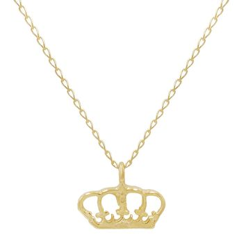 Amanda Rose 14k Yellow Gold Mini Royal Crown Necklace on an 18 inch chain