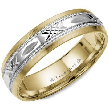 CrownRing 6MM Two-Tone Patterned Wedding Band