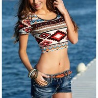 AZTEC PRINT CROP TOP