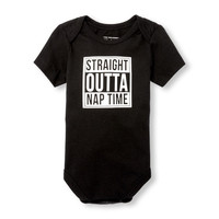 Unisex Baby Short Sleeve 'Straight Outta Nap Time' Graphic Bodysuit | The Children's Place