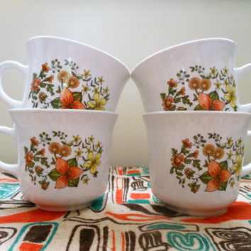 Corelle Indian Summer Coffee Mugs, Corningware Indian Summer Cups, Set of Four Vintage Corning Ware Indian Summer Mugs, Corning Coffee Mugs