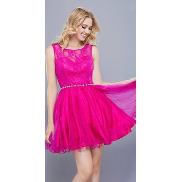 Magenta Lace Bodice Homecoming Short Dress Embellished Waist