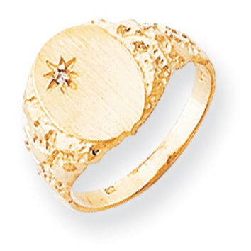 14k Yellow Gold Diamond Mens Burnish Signet Ring