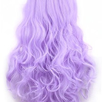 Ellena®Womens/Ladies 80cm Light Purple Color Long Curly Cosplay/Costume/Anime/Party/Bangs Full Sexy Wig (80cm Curly,Light Purple)
