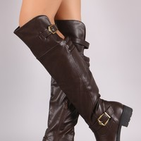 Quilted Buckled High-Low Over-The-Knee Riding Boots