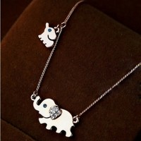 Mother and Baby Elephant Pendant Stainless Steel Fashion Necklace for Women Family Pendants