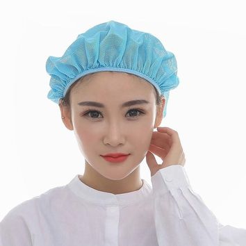 Latest Catering Cap Chef Kitchen Hygiene Work Hat Reusable Mesh Cap Pure Color Working Cap Chef Accessories