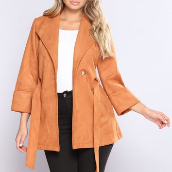 My Soul Is Living Faux Suede Jacket - Camel