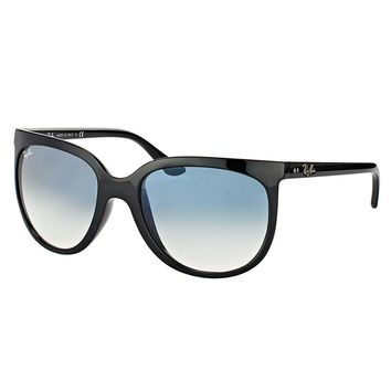 Ray Ban Sunglasses Cats 1000 RB4126 601/3F 57MM Shiny Black Frame Blue Gradient