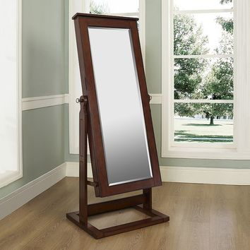 Cheval Mirror & Jewelry Organizer (Brown)