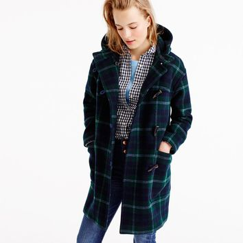 Hooded toggle coat in plaid : Women wool | J.Crew