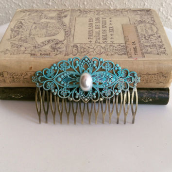 Blue Hair Comb Pearl Turquoise Wedding Something Blue Old Vintage Style Bridal Hair Piece Teal Bridesmaids Accessories Patina Alice Blue