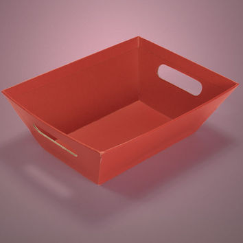 Red Strong Cardboard Colored Gift Basket Market Trays, 5 pack