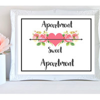 apartment art print, instant download, girl room wall art, printable, last minute gift for her, shop for home, pink floral decor, prints