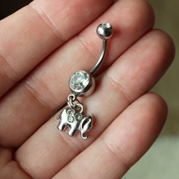 Tiny Elephant Belly Navel Ring with Double Gemstones in Clear, Tiny Elephant Belly Ring, Boho Elephant Body Jewelry, Crystal Elephant Body