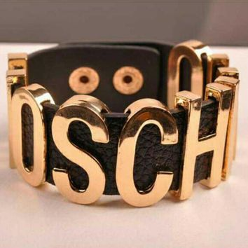 MOSCHINO Fashion Women Personal Metal Pu Leather Bracelet Hand Bracelet Hand Catenary Gold