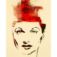 LOVE LUCY Lucille Ball Portrait Original Painting 11x14 Graffiti and Pop Art Inspired Original Artwork I Love Lucy