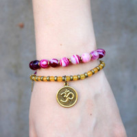 Grounding and Joy, Pink agate and Yellow jade 27 bead wrap mala bracelet™