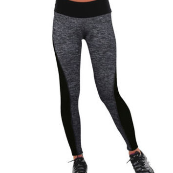 2016 Trending Fashion Black Leggings High Waisted Suit Fitness Sportswear Stretch Exercise Yoga  Trousers Pants _ 2148