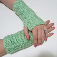 Pale Green, Crochet Simple Fingerless Gloves, FREE US SHIPPING, Driving Gloves, Texting Gloves, Christmas Gift, Seafoam, Lime Green
